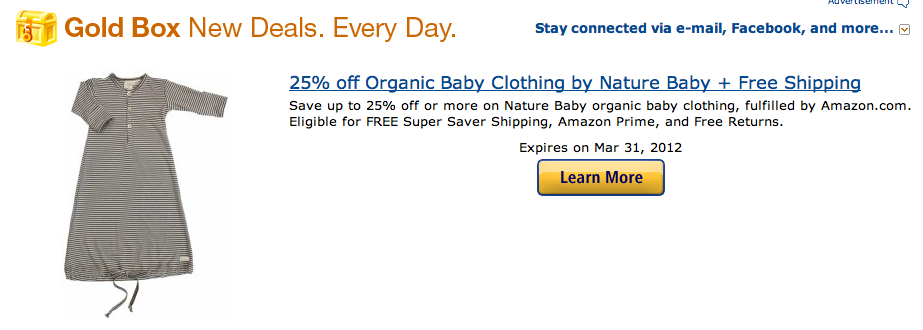 Nature Baby merino babywear featured in the Amazon Gold Box