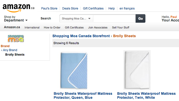 Brolly Sheets on Amazon Canada