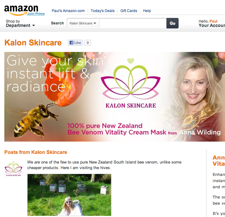 Kalon Skincare brand page on Amazon