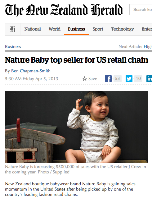Nature Baby in the New Zealand Herald