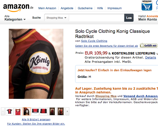 Solo cycling jersey on Amazon.de