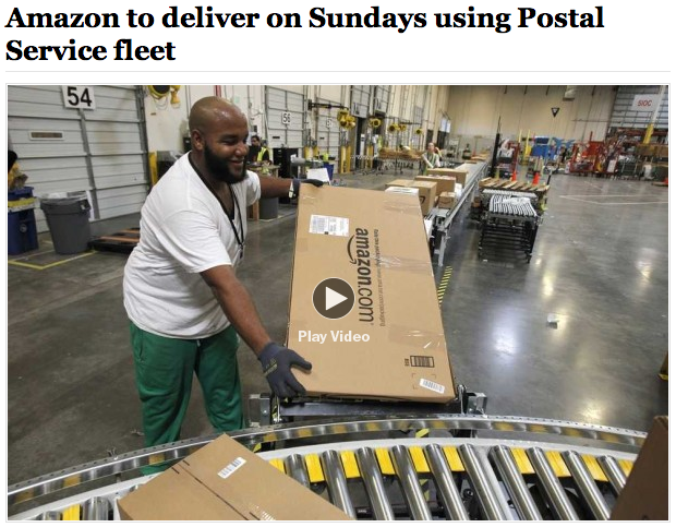 Washington Post Amazon to deliver on Sundays