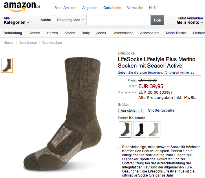 Lifesocks on Amazon Germany
