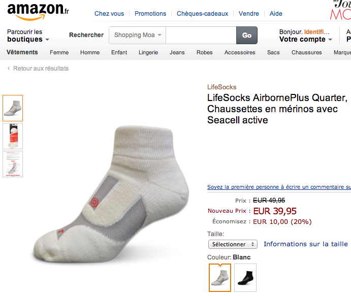 Lifesocks on Amazon France