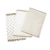 Dandi Set of 3 Dishtowels, Spots and Stripe Pom Pom, Oatmeal Dish Towel