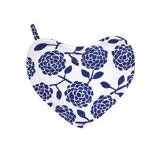 Dandi Heart Oven Mitt With Pocket, Hydrangea Navy