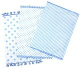 Dandi Set of 3 Dishtowels, Spots and Stripe Pom Pom, Wisteria Blue Dish Towel