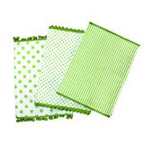 Dandi Set of 3 Dishtowels, Spots and Stripe Pom Pom, Pistachio