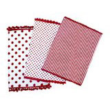 Dandi Set of 3 Dishtowels, Spots and Stripe Pom Pom, Berry Red Dish Towel