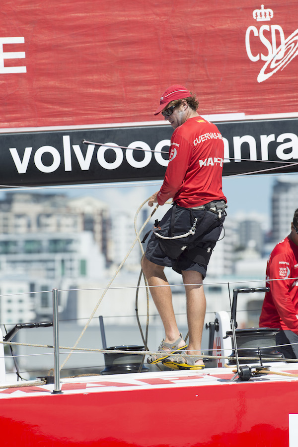 Desafio Mapfre bowman Antonio Cuervas-Mons wears a Victory Knives XTB Sailor's Blade on the back of his harness during the Volvo Ocean Race In Port Race in Auckland. 14 March 2015