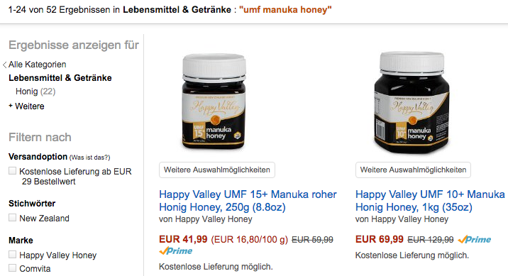 Happy Valley #1 UMF honey on Amazon.de