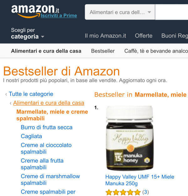 Happy Valley UMF 15+ manuka honey #1 bestseller on Amazon Italy