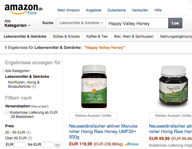 Happy Valley honey on Amazon Germany
