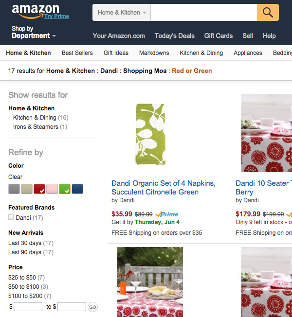 Dandi on Amazon screenshot