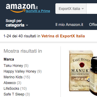 Amazon.it showing ExportX Italia