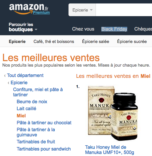 Taku Honey UMF 10+ #1 on Amazon France